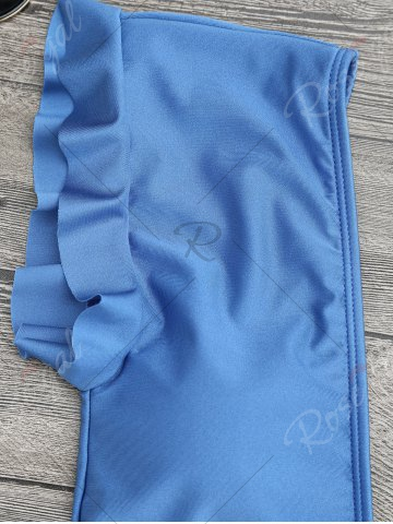 Outfit Frilled One Piece Plunge Swimsuit - L BLUE Mobile