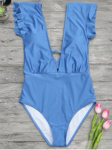 Hot Frilled One Piece Plunge Swimsuit - L BLUE Mobile