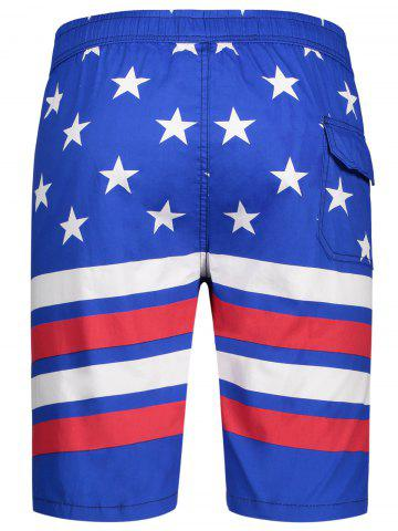 Fancy Star and Stripe Print Drawstring Patriotic Board Shorts - L BLUE Mobile
