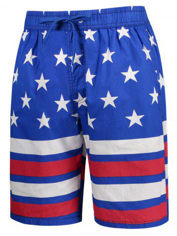 Outfits Star and Stripe Print Drawstring Patriotic Board Shorts - L BLUE Mobile