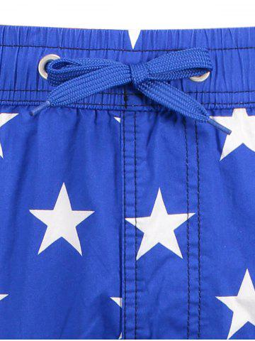 Shop Star and Stripe Print Drawstring Patriotic Board Shorts - L BLUE Mobile