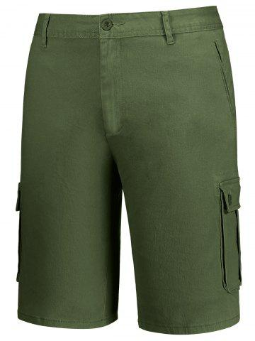 Discount Zip Fly Pockets Bermuda Cargo Shorts - 38 ARMY GREEN Mobile