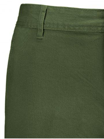 Fancy Zip Fly Pockets Bermuda Cargo Shorts - 38 ARMY GREEN Mobile