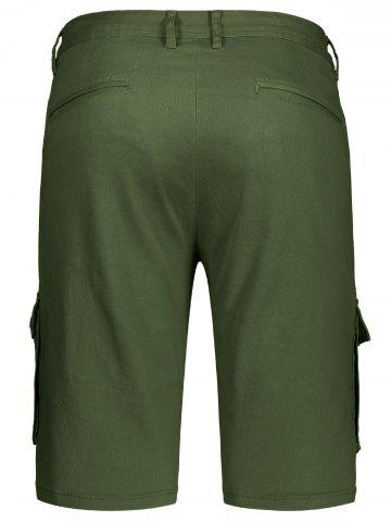 Affordable Zip Fly Pockets Bermuda Cargo Shorts - 38 ARMY GREEN Mobile