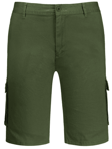 Online Zip Fly Pockets Bermuda Cargo Shorts - 38 ARMY GREEN Mobile