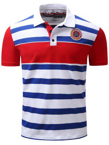 Trendy Stripe Color Block Panel Anchor Embroidered Polo T-shirt BLUE 3XL