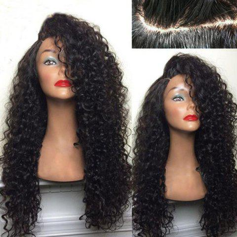 Discount Long Deep Side Part Shaggy Kinky Curly Synthetic Wig BLACK