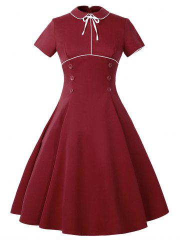 Chic Buttoned Vintage Dress RED S