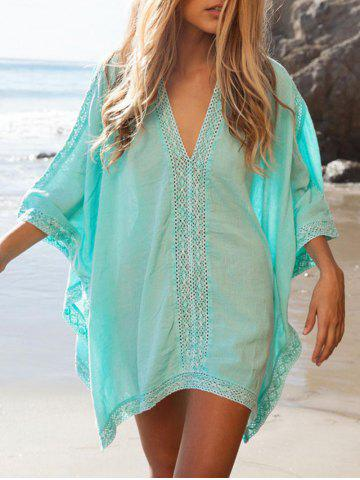 Chic Oversized Lace Insert Cover Up Top - ONE SIZE OASIS Mobile