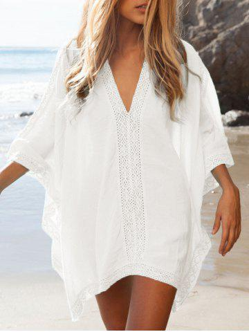 Latest Oversized Lace Insert Cover Up Top WHITE ONE SIZE