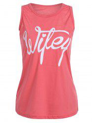 Letter Print Scoop Neck Racerback Tank Top