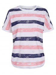 Star Print Stripe Distressed Graphic Tee
