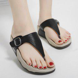 Wedge Heel Belt Buckle Slippers - BLACK