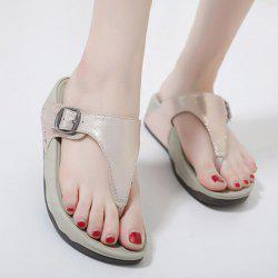 Wedge Heel Belt Buckle Slippers