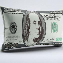 Brushed Fabric Money Pillow Case with Dollar Print
