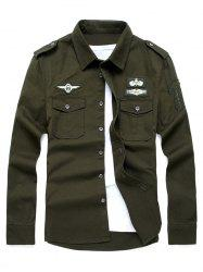 Badge Embroidered Design Military Shirt