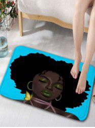 Afro Hair Lady Skidproof Flannel Bathroom Rug