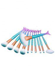 11Pcs Nylon Mermaid Tail Makeup Brushes Set - BLUE