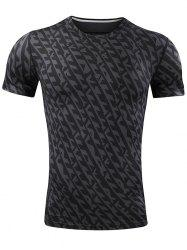Quick Dry All Over Printed Sport T-shirt - BLACK