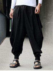 Low-Slung Crotch Drawstring Cotton Linen Harem Pants - BLACK