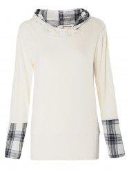 Stylish Hooded Long Sleeve Spliced Plaid Women's Hoodie - OFF-WHITE L