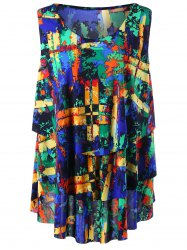 Scrawl Print Layered Plus Size Tank Top