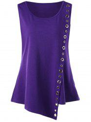 Plus Size Grommets Embellished Overlap T-shirt