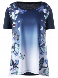 Plus Size Ombre Butterfly Print T-shirt - BLUE