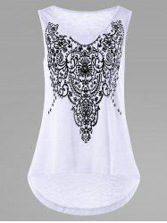 Printed Sleeveless High Low T-shirt
