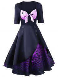 Butterfly Print Layered 50s Swing Dress - BLACK AND PURPLE