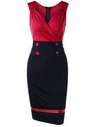 Sleeveless Double Breasted Vintage Sheath Pencil Dress - RED