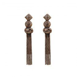 Fringed Chain Geometric Gypsy Earrings