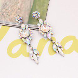 Rhinestone Faux Gem Flower Dangle Earrings
