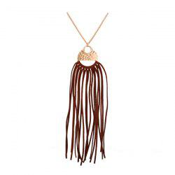 PU Leather Tassel Round Pendant Necklace