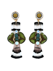 Statement Floral Feather Drop Earrings