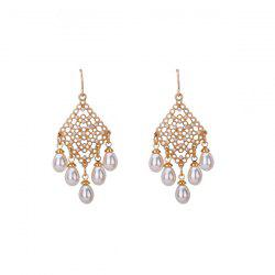 Artificial Pearl Geometric Chandelier Earrings
