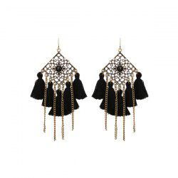 Engraved Geometric Tassel Fringed Hook Earrings