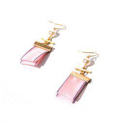 Artificial Pearl Geometric Fabric Hook Earrings
