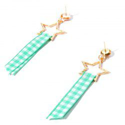 Plaid Fabric Star Earrings
