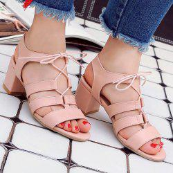 Lace Up Chunky Heel Sandals