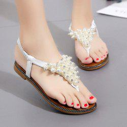Faux Pearl Flat Thong Sandals