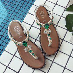 T Bar Faux Gem Thong Sandals