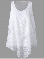 Lace Panel Asymmetrical Top - WHITE
