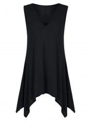 V Neck Criss Cross Tunic Top - BLACK