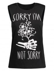 Skeleton Letters Print Graphic Tank Top - BLACK M