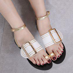 Double Buckle Strap Toe Ring Sandals