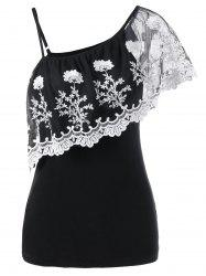 Ruffle Lace Insert One Shoulder T-Shirt - BLACK