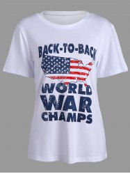 American Flag Letters Print Short Sleeve T-Shirt