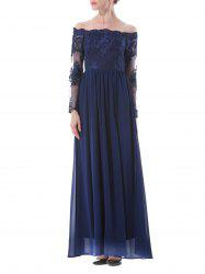 Long Lace Insert Formal Prom Bridesmaid Dress