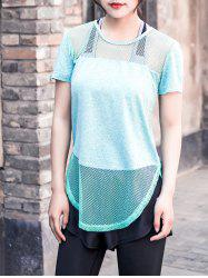 Mesh Panel Sports Top - LIGHT GREEN